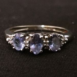 Tanzanite & Diamond 10k White Gold 3 Stone Ring